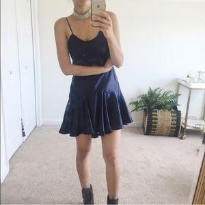 Vintage Dresses & Skirts - VINTAGE // VS midnight blue satin dress