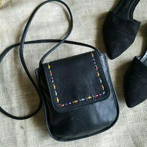 Vintage Beaded Black Leather Crossbody Mini Bag