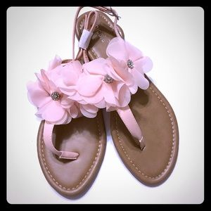 Nicole Shoes - Pretty NICOLE Petal & Crystal Sandals n Blush NWOB