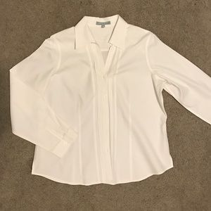 Foxcroft Tops - Foxcroft white starched button down shirt size 14P