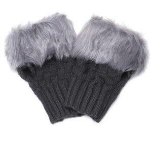 Accessories - Dark Grey Faux Fur Half Finger Gloves