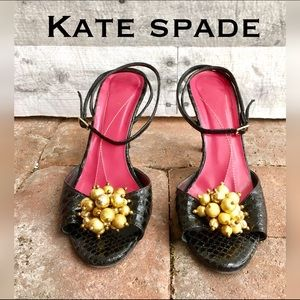 kate spade Shoes - Black Italian leather  w/ gold beads ankle strap