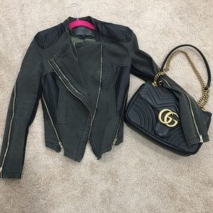 Jackets & Blazers - Olive green denim and leather jacket