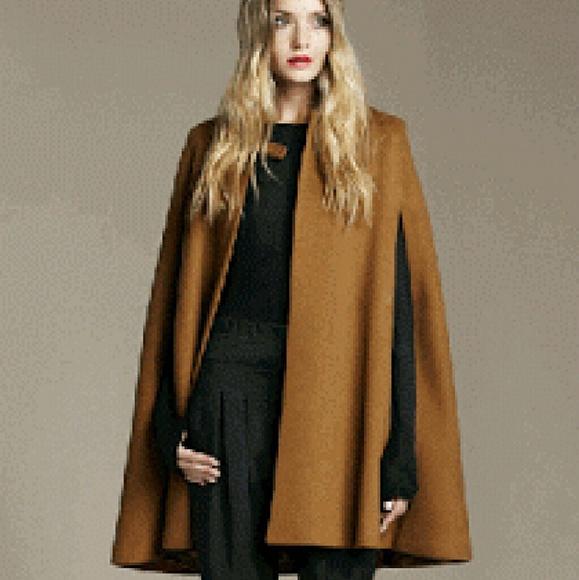 zara jackets coats camel wool studio cape poshmark. Black Bedroom Furniture Sets. Home Design Ideas