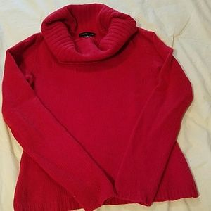 Luscious Red Cashmere Cowlneck.