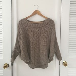 Sweaters - Wool cable knit poncho