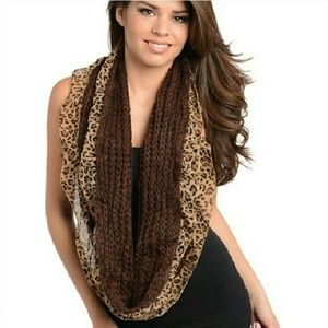 Leopard print & solid infinity scarf -choose color