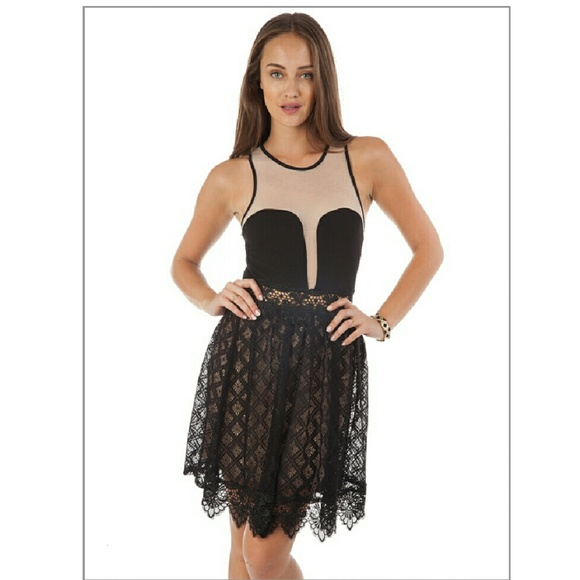 Dresses & Skirts - Elegant and Sexy Black and Nude Lacy Minidress