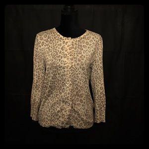 Chaus Sweaters - Chaus cheetah silk angora cardigan