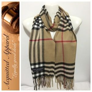 Acquitted Apparel Accessories - Cashmere Beige Large Check Scarf Made in England