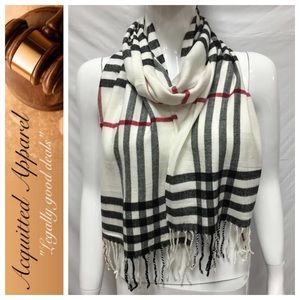 Acquitted Apparel Accessories - Cashmere Cream Check Plaid Scarf Made in England
