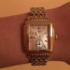 Michele Accessories - Michele Gold Deco 16 Pink MOP face