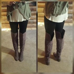 Shoes - Gray Over the knee boots
