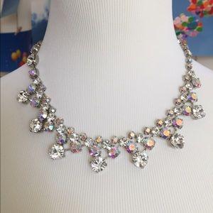 Iridescent rhinestone statement necklace!