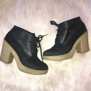 Topshop Leather Bootie Black