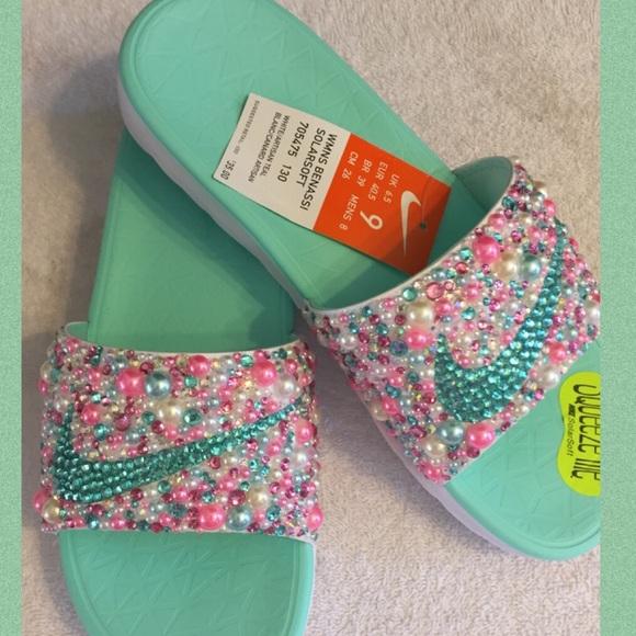40108321b596 Custom Bling Nike Slides
