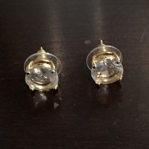 Kate spade stud earrings, gold and clear gem