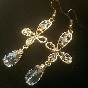 Jewelry - Goldtone Crystal Accent Butterfly Earrings