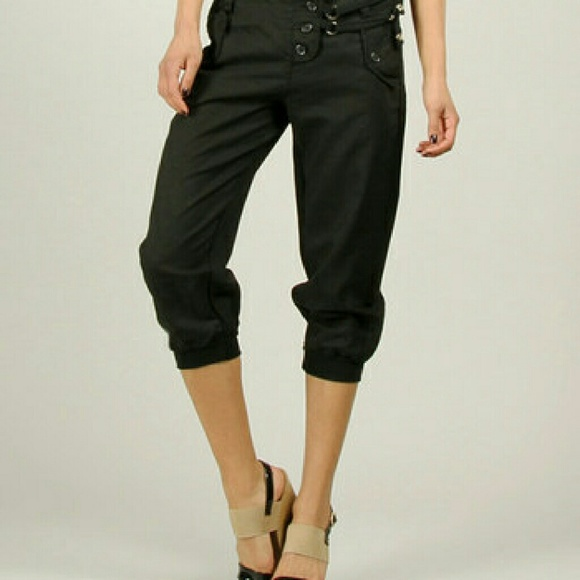 100% LIN - 100% LIN Black Linen Capri Pants Size 42 (US 10) from ...