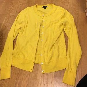 J crew yellow cardigan sweater