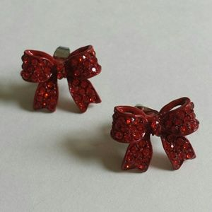 Red Glass Stone Bow Post Back Earrings
