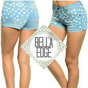 Bella Edge Pants - Light blue denim star shorts