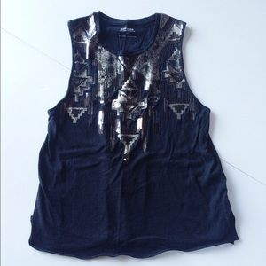 Express sequin tank top sleeveless Aztec xs black