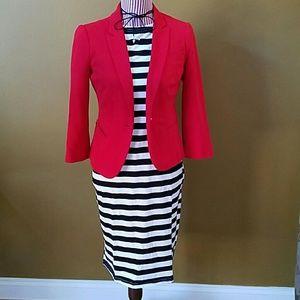 Plus Size Black and White Striped T-Shirt Dress