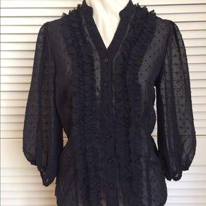 antilia femme Tops - 🌹Pretty sheer black polka dot blouse