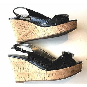 Guess Shoes - Guess Cork Wedge Heel Sandal Signature Buckle