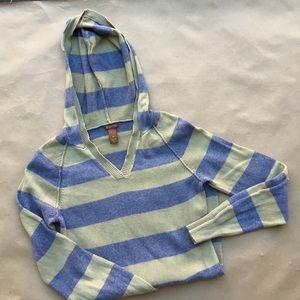 Copper Key Sweaters - Copper Key army green & gray hooded stripe sweater