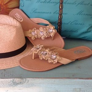 Yoki Shoes - Tan flower sandals with silver rhinestones.