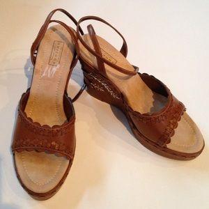Arizona Jean Company Shoes - NWT NIB Arizona Tan Boho Ankle Strap Wedges