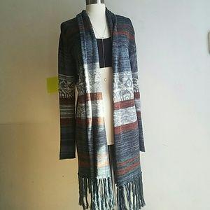 Forever 21 Sweaters - Aztec Fringe Kimono Sweater