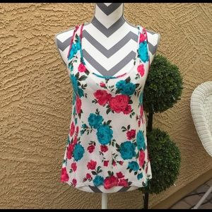 Ambiance Apparel Tops - Gorgeous Floral Tank with Lace Back