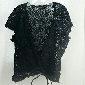 3X Torrid lace eyelash black wrap cover top