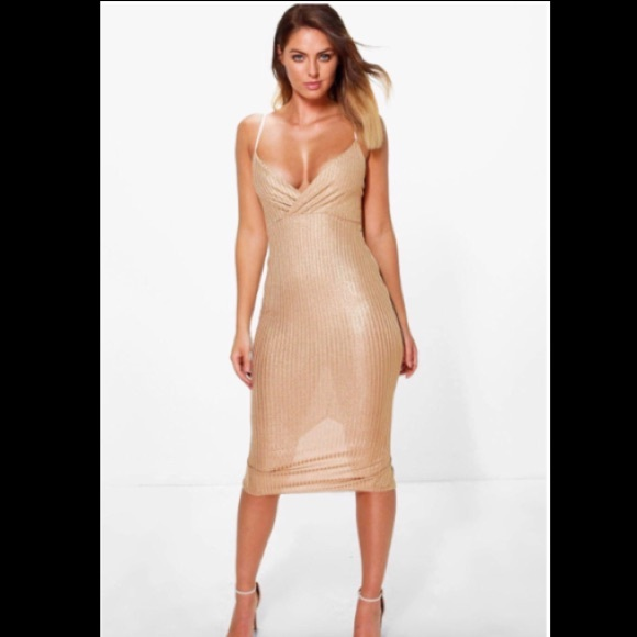 f9bb2590 Gold Metallic Midi Dress. NWT. Boohoo. $35 $40. Size. 10