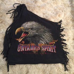 Anna Sui Tops - Anna Sui Crystal fringe shoulder tie top Vintage