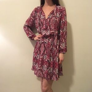 Parker Dresses & Skirts - Parker Groovy Silk Pink Paisley Long Sleeve Dress