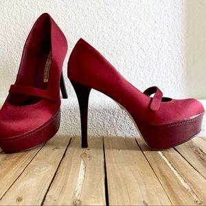 BUFFALO LONDON Burgundy Mary Jane Platforms Shoes