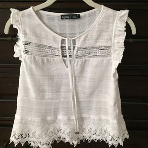 Gypsy 05 Tops - Gypsy 05 white cotton crochet Boho Top small