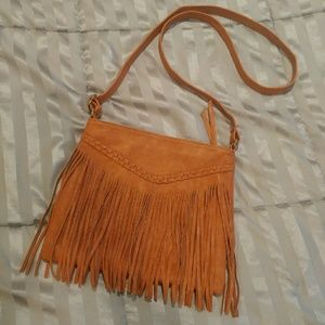 Lulu Handbags - Tan faux-leather fringe crossbody bag Lulu