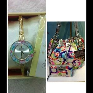 Coach poppy bangle watch and bucket bag!