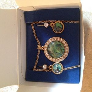 Genuine Abalone Shell Necklace and Earring Set