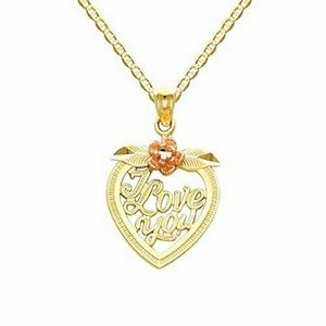 14k 2 tone Gold I LOVE YOU Necklace