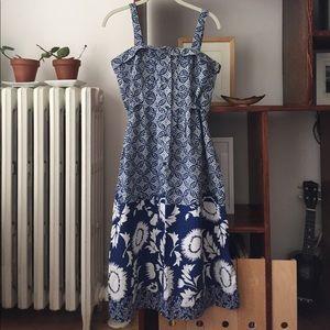 Blue printed vintage midi sun dress