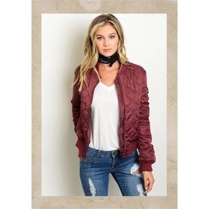 the story Jackets & Blazers - Host Pick Burgundy Quilted Bomber Jacket