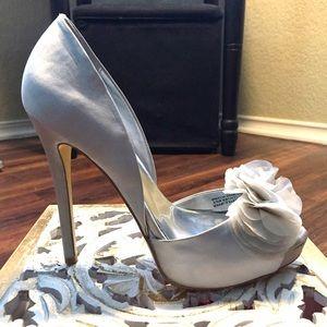 Audrey Brooke Silver Satin Heel
