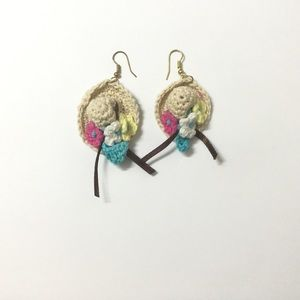 Jewelry - 🎁Hand Knitted Asymmetrical Straw Hat Earrings