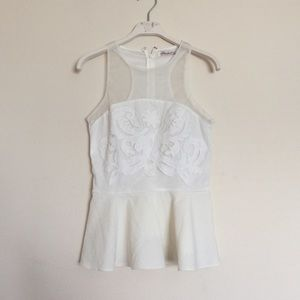 Anthropologie Tops - White cream lace mesh floral lace peplum top small